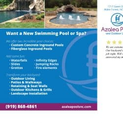Azalea Pools & Outdoor Living Postcard Design Back