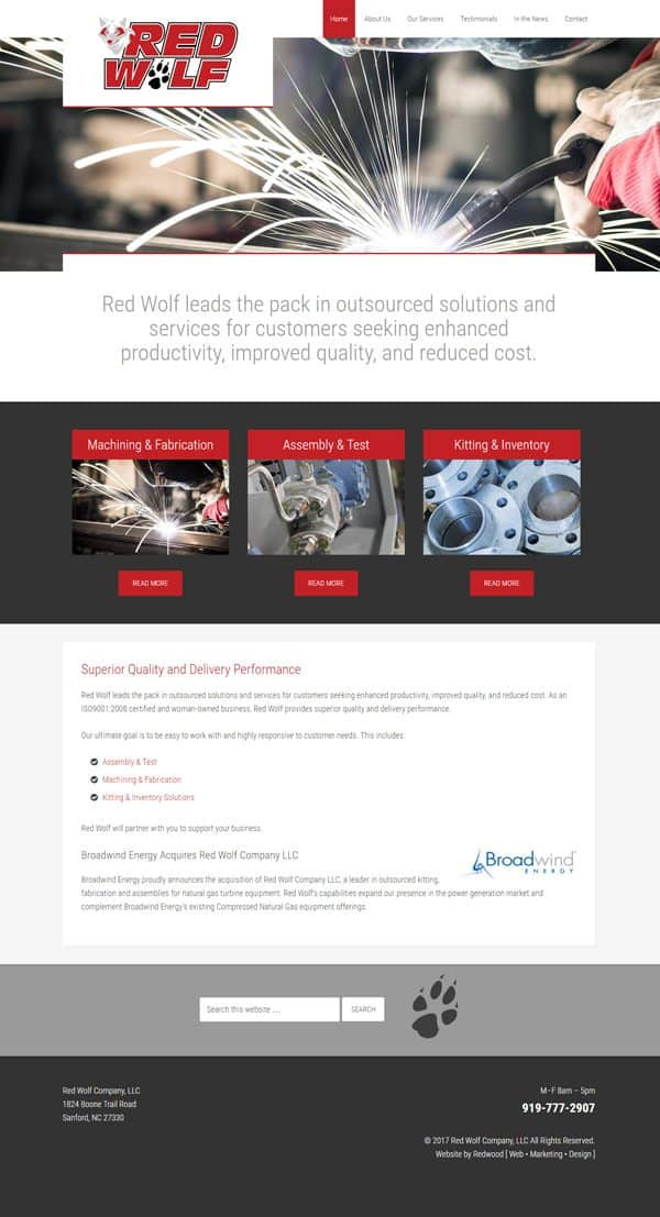 Red Wolf Manufacturing Website Design & Development