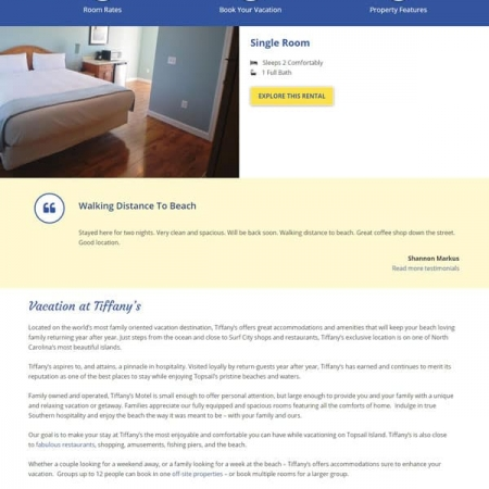 Tiffany's Motel Website Design & Development