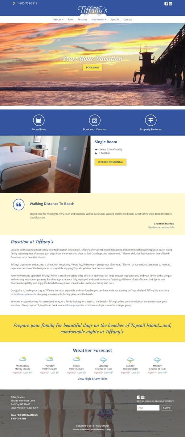 Tiffany's Motel Website Design & Development