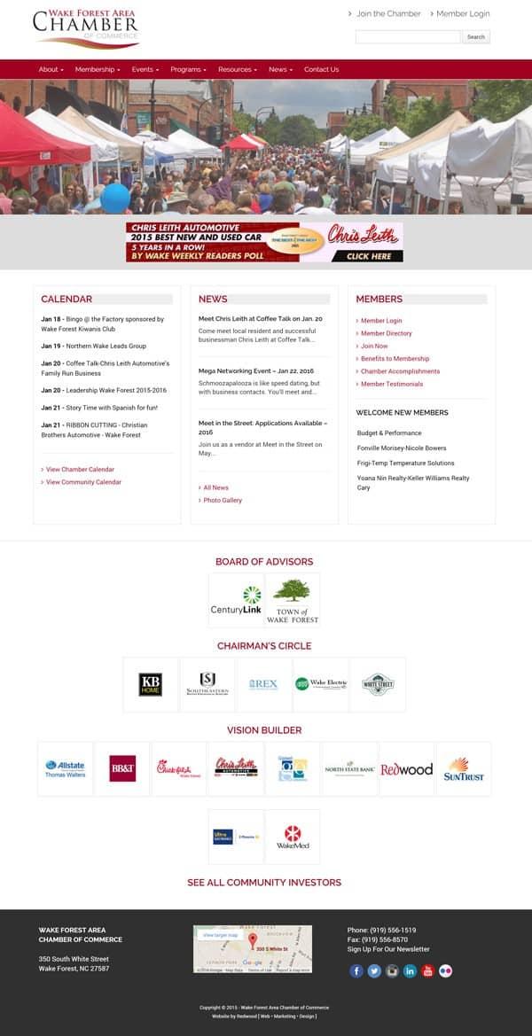 Wake Forest Chamber Web Design Company