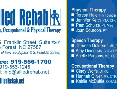 Allied Rehab Physical Therapy Business Card Design Front