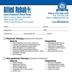 Allied Rehab Physical Therapy Referral Pad Design