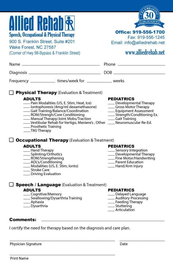 Allied Rehab Referral Pad Design