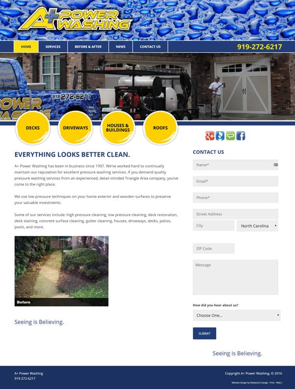 A Plus Powerwashing Website Design & Development