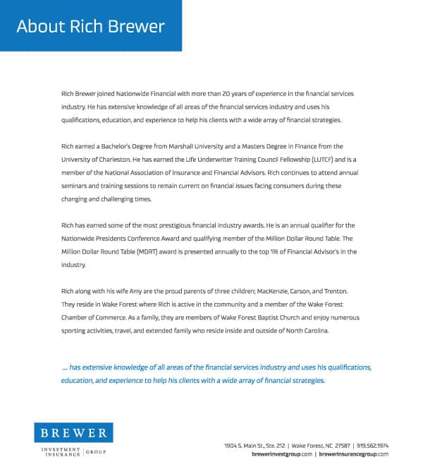 Brewer Investment Insurance Flyer 3