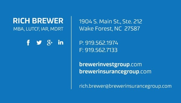 Brewer Insurance Investment Business Card Design Front