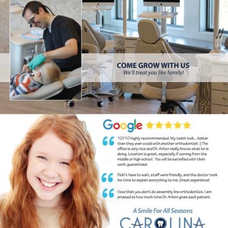 Carolina Orthodontics and Pediatric Dentistry Dental Practice Brochure Design Back