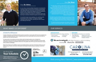 Carolina Orthodontics and Pediatric Dentistry Dental Practice Brochure Design Inside