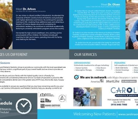 Carolina Orthodontics and Pediatric Dentistry Dental Practice Brochure Design Inside