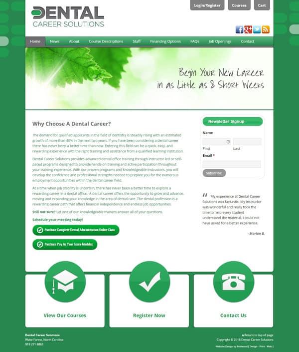 Dental Career Solutions Education Website Design