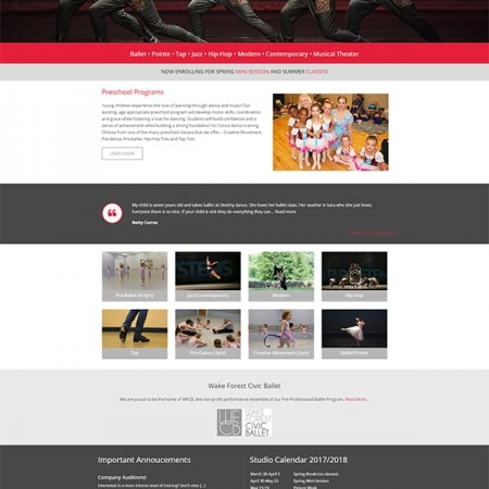Destiny Dance Institute Dance Studio Website Design & Development