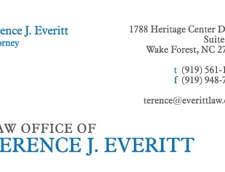 Terence Everitt Law Firm Business Card Design