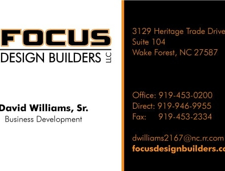 Focus Design Builders Business Card Design