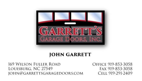 Garrett's Garage Door Business Card Design Front