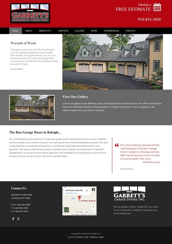 Garrett's Garage Door Web Design & Development
