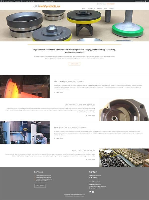 Metal Products Website Design