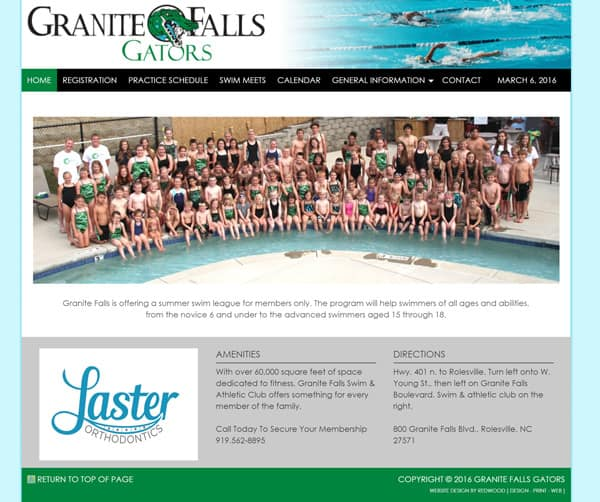 Granite Falls Swim Team Website Design & Development