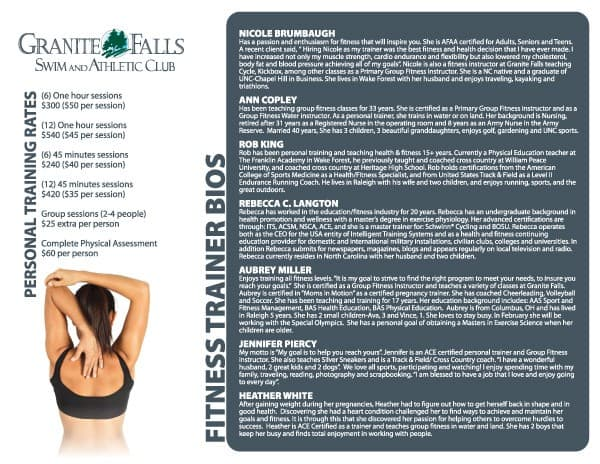 Granite Falls Athletic Club Brochure Design