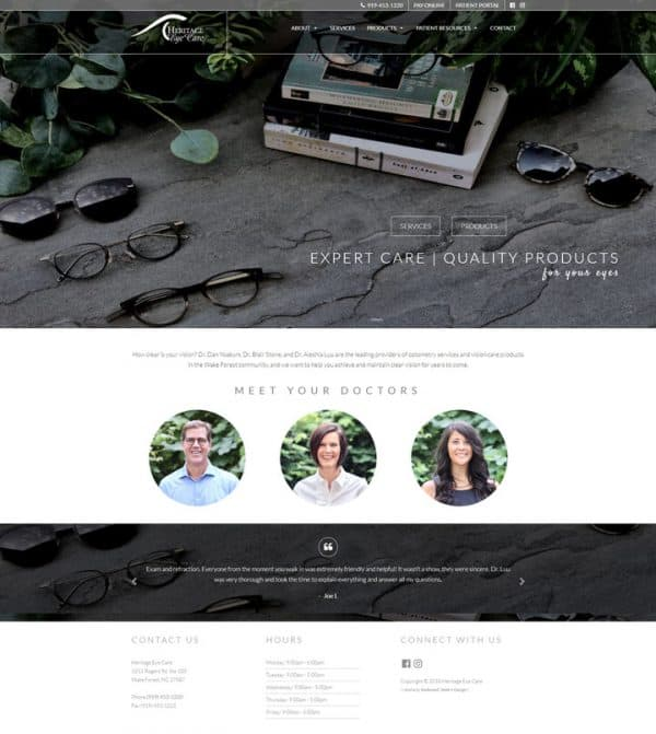 Heritage Eye Care Web Design Development Wake Forest, NC
