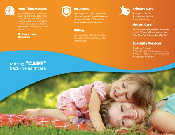 Heritage Urgent & Primary Care Brochure Design Inside