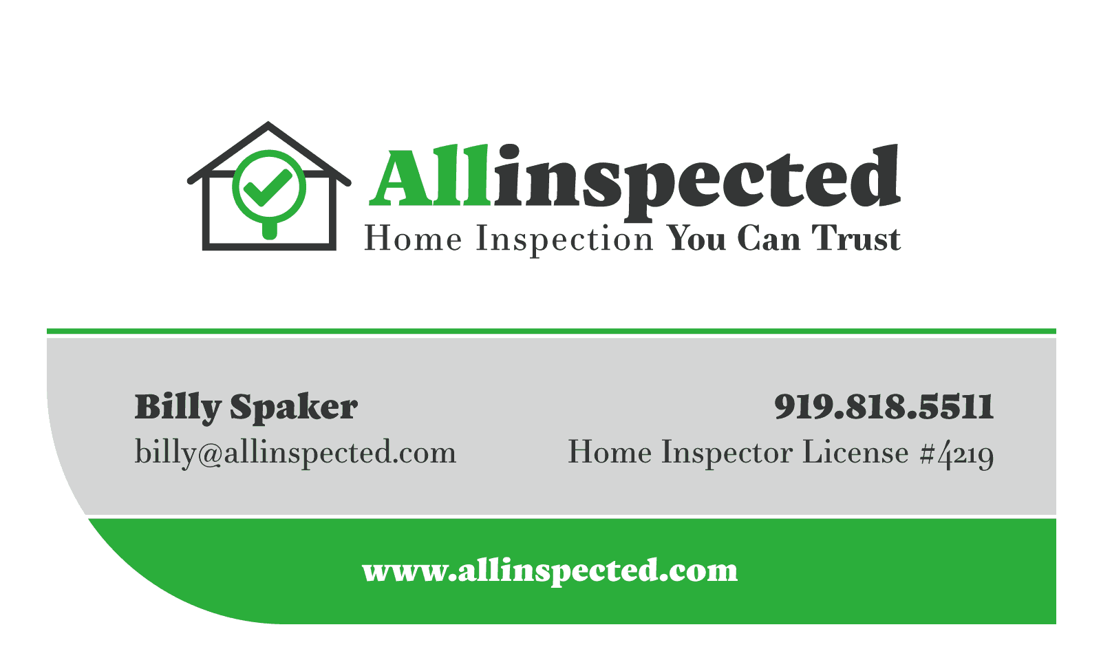 Home Inspection Business Card Design