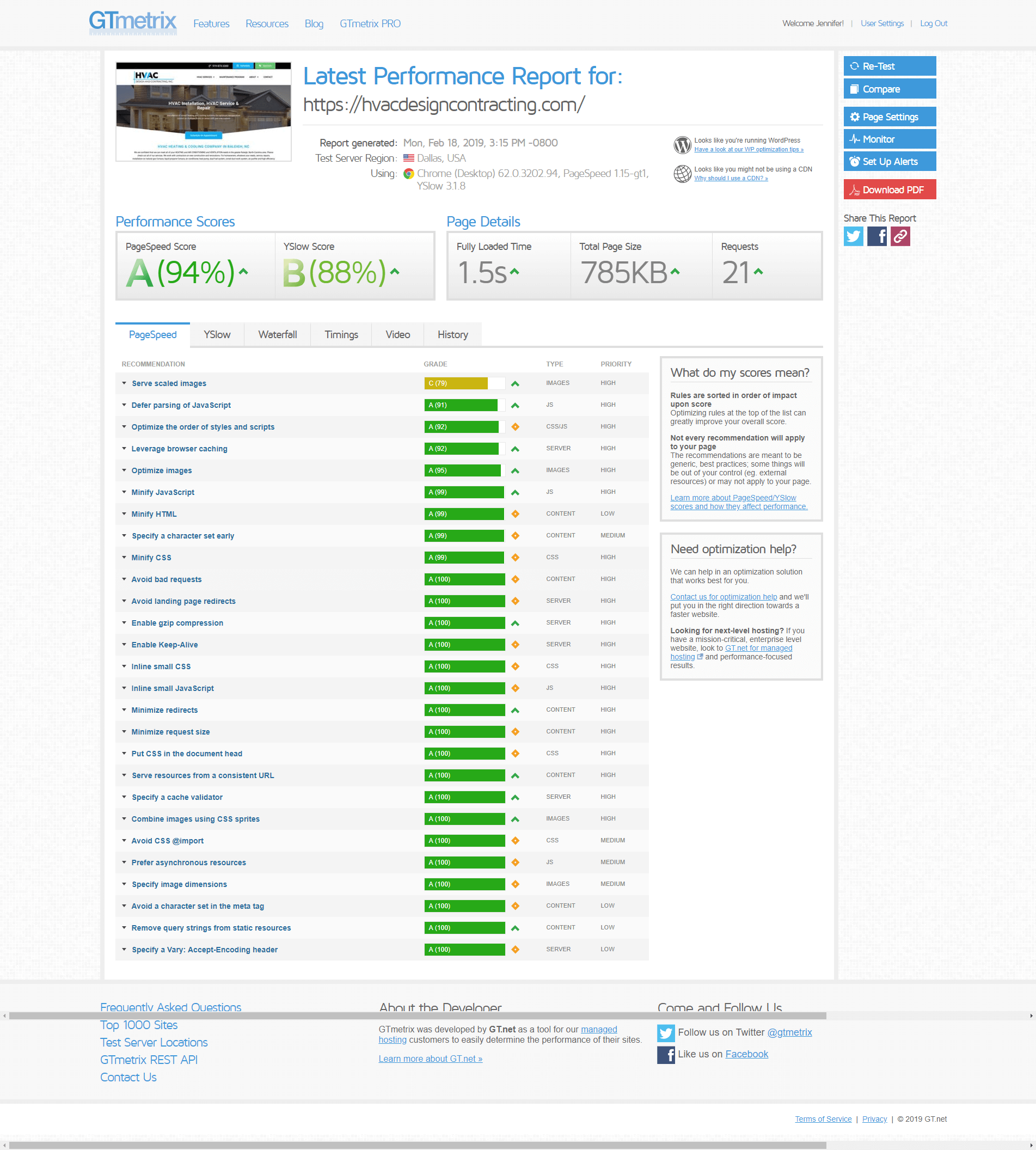 HVAC Company Website Design Page Speed Test