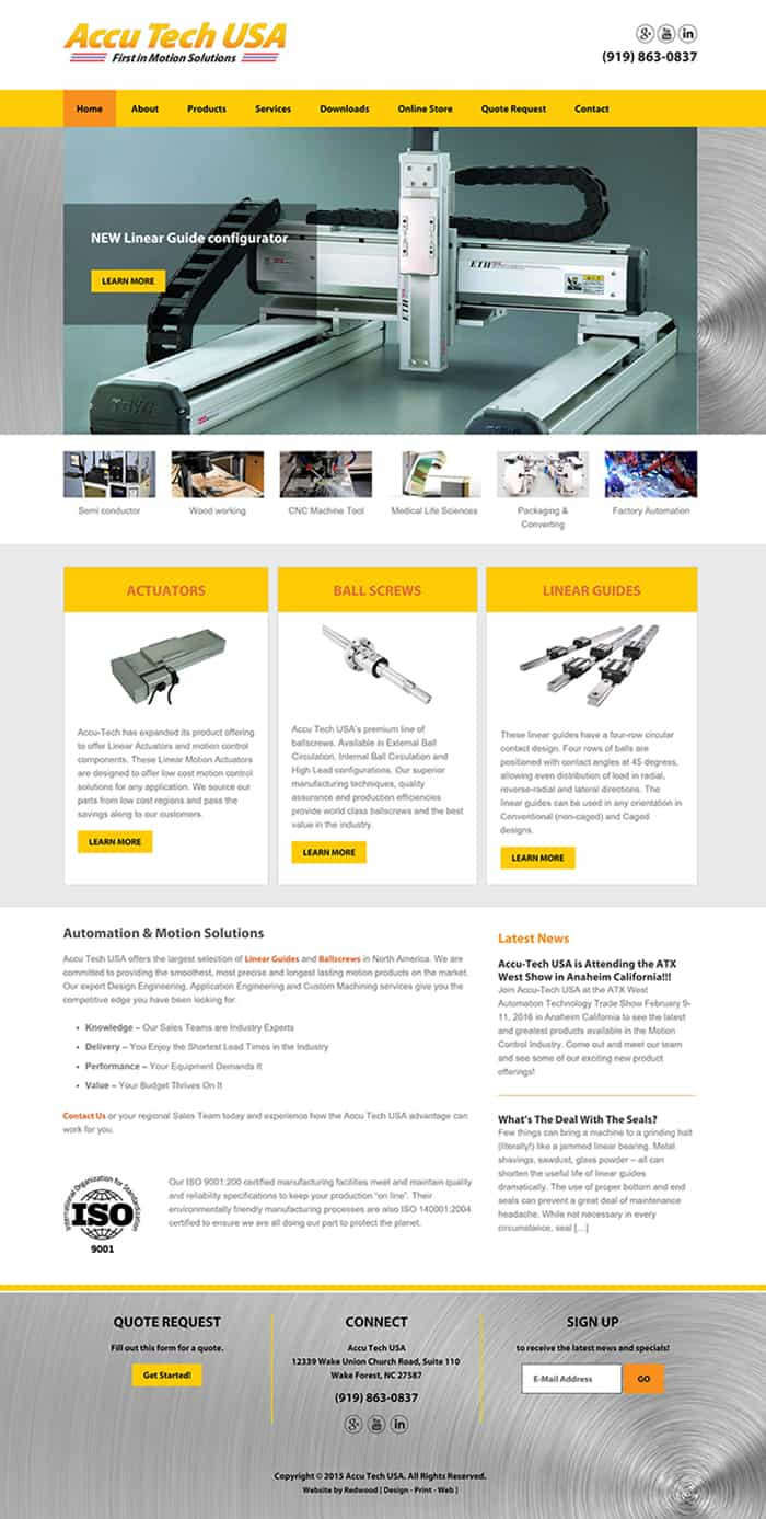Accutech Motion Control Products Website Design