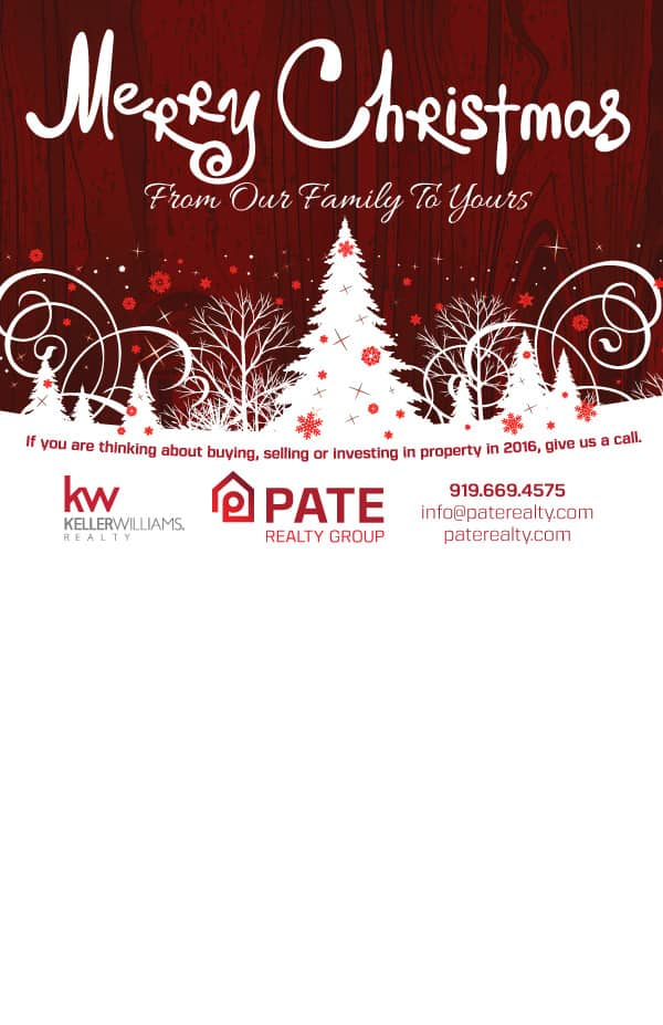 Pate Realty Christmas Postcard Design Back