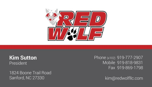 Red Wolf Manufacturing Business Card Design