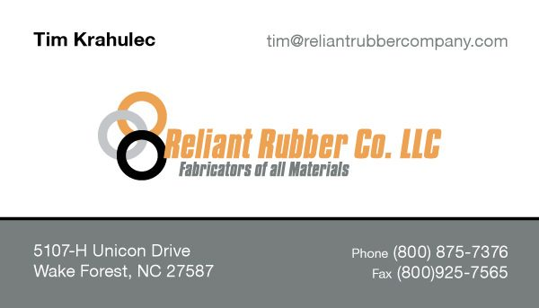 Reliant Rubber Company Business Card Design