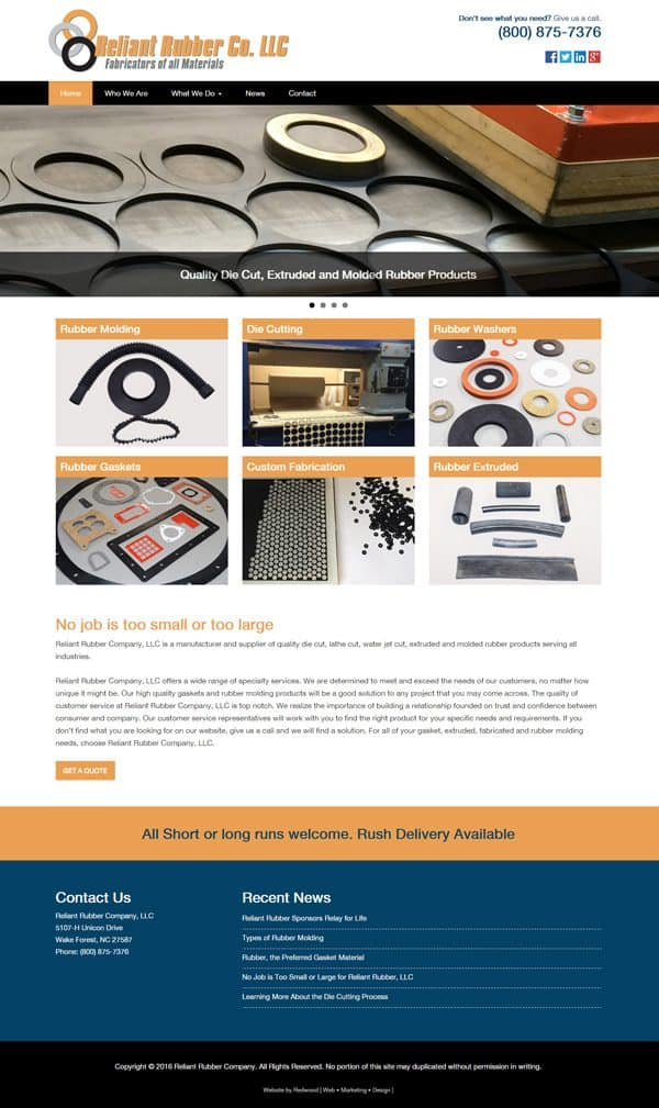 Reliant Rubber Manufacturing Website Design & Development