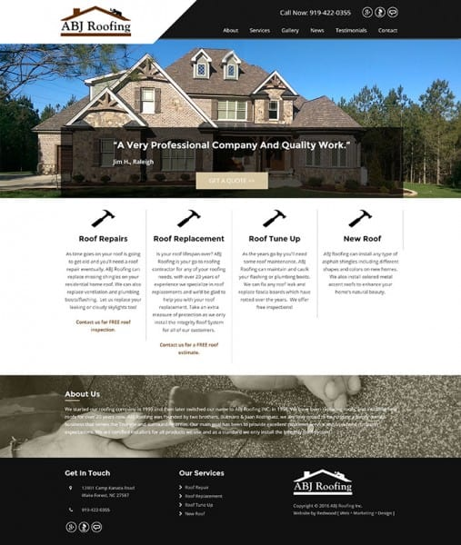 ABJ Roofing Website Design