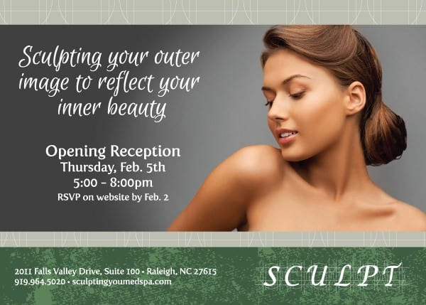 Sculpt MedSpa Grand Opening Postcard Design