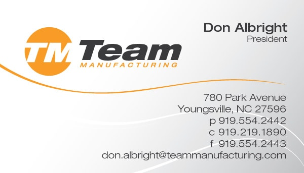 Team Manufacturing Business Card Design