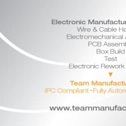 Team Manufacturing Business Card Design Back