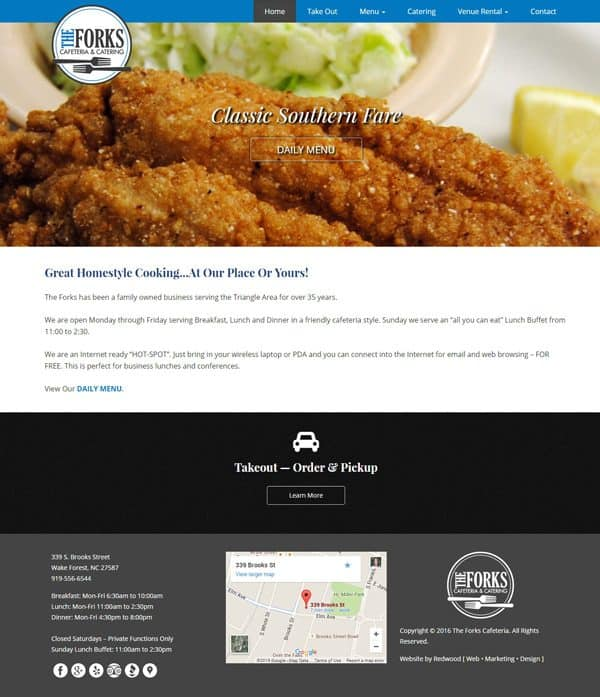 The Forks Cafeteria Restaurant Web Design & Development