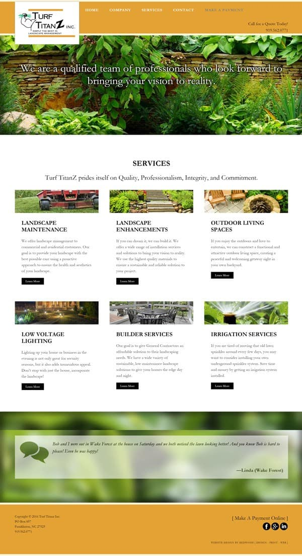 Turf Titanz Landscaping Web Design & Development