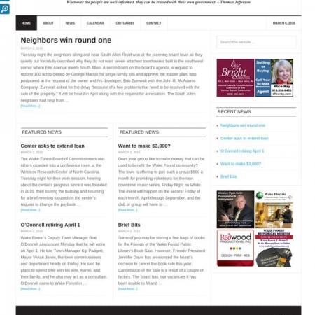 Wake Forest Gazette Newspaper Web Design
