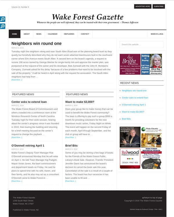 Wake Forest Gazette Newspaper Web Design