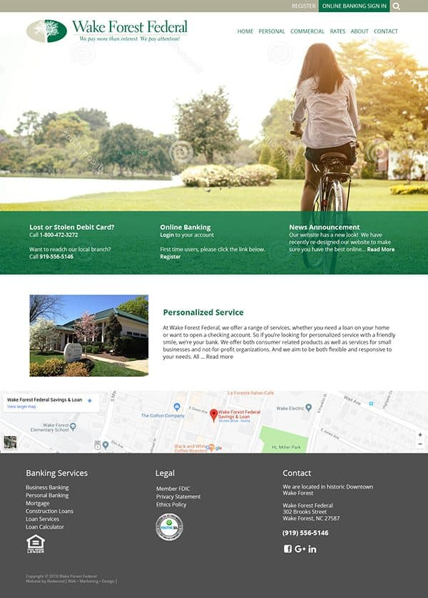 Wake Forest Federal Bank Website Design & Development